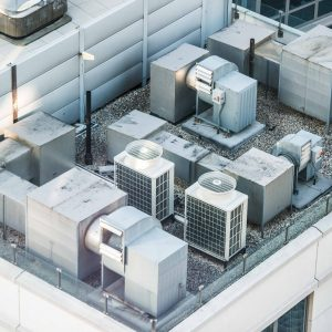 Air condition system on the building roof toop